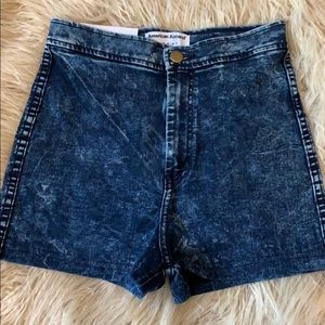 American Apparel Acid Washed High Rise shorts